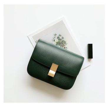 Eldora Genuine Cow Leather Shoulder Bag Green 77119