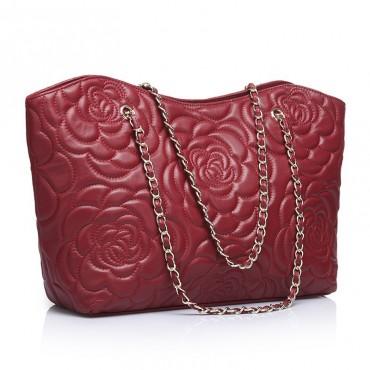 Florence Genuine Leather Tote Bag Dark Red 75114