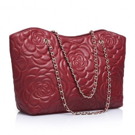 Rosaire « Florence » Sheepskin Leather Tote Bag with Camellia Pattern Dark Red 75114