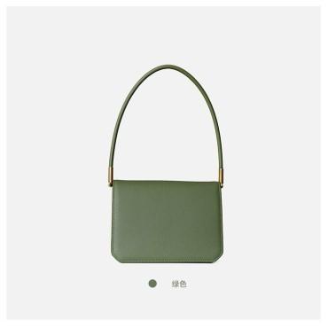 Eldora Genuine Cow Leather Top Handle Bag Green 77138