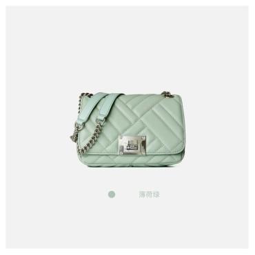 Eldora Genuine Cow Leather Shoulder Bag Green 77139