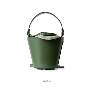 Eldora Genuine Cow Leather Bucket Bag Green 77146