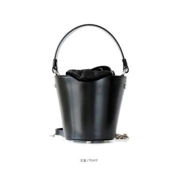 Eldora Genuine Cow Leather Bucket Bag Black 77146