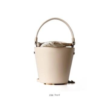 Eldora Genuine Cow Leather Bucket Bag White 77146