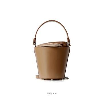 Eldora Genuine Cow Leather Bucket Bag Brown 77146