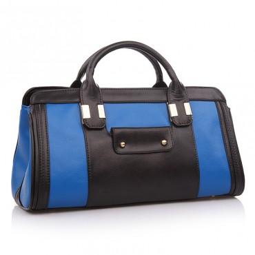 Maud Genuine Leather Satchel Bag Blue Black 75117