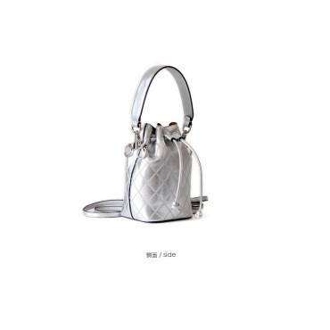 Eldora Genuine Cow Leather Bucket Bag Silver 77149