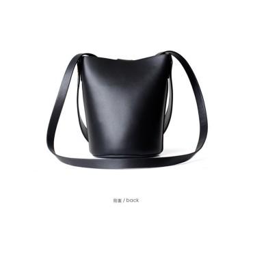 Eldora Genuine Cow Leather Bucket Bag Black 77154