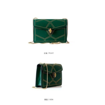 Eldora Genuine Cow Leather Shoulder Bag Green 77156