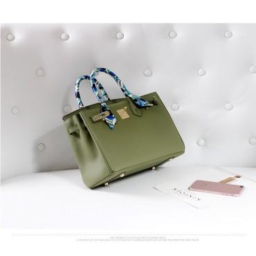 Eldora Genuine Cow Leather Top Handle Bag Green 77161