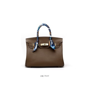 Eldora Genuine Cow Leather Top Handle Bag Dark Grey 77161