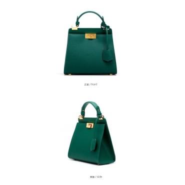 Eldora Genuine Cow Leather Top Handle Bag Green 77162