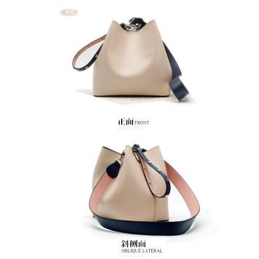 Eldora Genuine Cow Leather Bucket Bag Khaki 77168