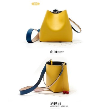 Eldora Genuine Cow Leather Bucket Bag Yellow 77168