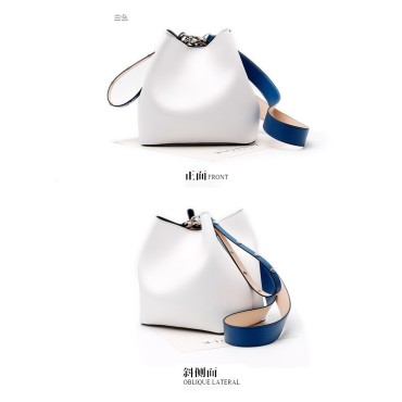 Eldora Genuine Cow Leather Bucket Bag White 77168