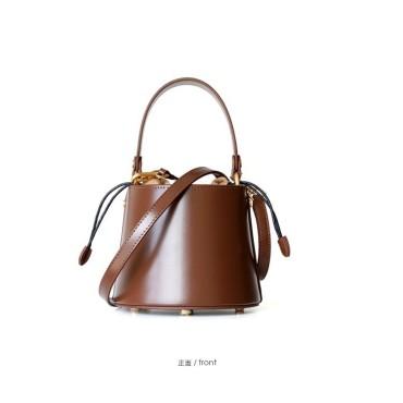Eldora Genuine Cow Leather Bucket Bag Brown 77171