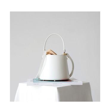 Eldora Genuine Cow Leather Bucket Bag White 77171