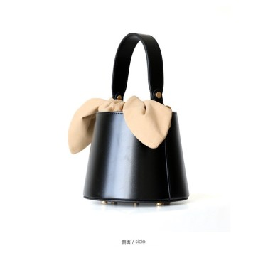 Eldora Genuine Cow Leather Bucket Bag Black 77171