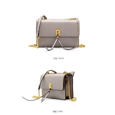 Eldora Genuine Cow Leather Shoulder Bag Grey 77183