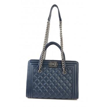 Amandine Genuine Leather Tote Bag Dark Blue 75236