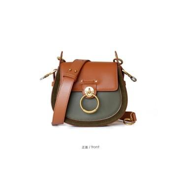 Eldora Genuine Cow Leather Shoulder Bag Green Brown 77182