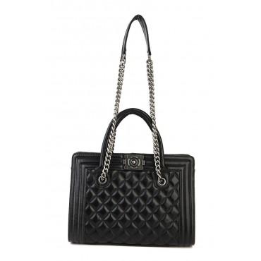 Amandine Genuine Leather Tote Bag Black 75236