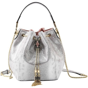 Eldora Genuine Cow Leather Bucket Bag Silver 77188