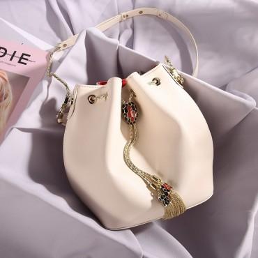 Eldora Genuine Cow Leather Bucket Bag White 77188