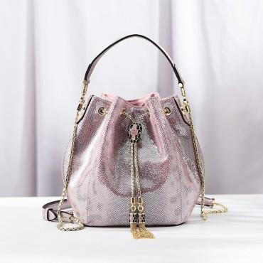 Eldora Genuine Cow Leather Bucket Bag Pink 77188