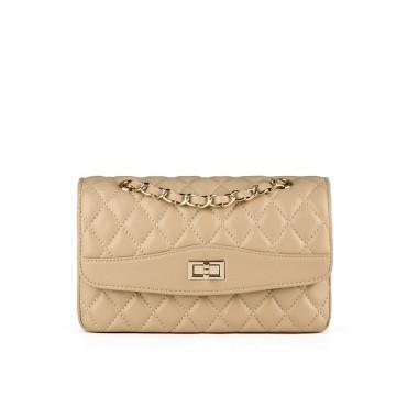Eldora Genuine Lambskin Leather Shoulder Bag Apricot 77210