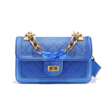 Eldora Genuine Cow Leather Shoulder Bag Blue 77215