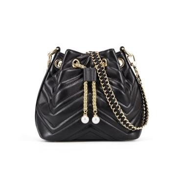 Eldora Genuine Cow Leather Bucket Bag Black 77214