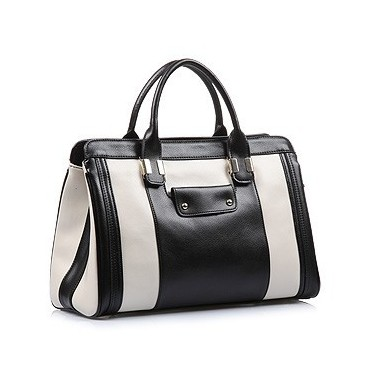 Maud Genuine Leather Satchel Bag Black Beige 75117