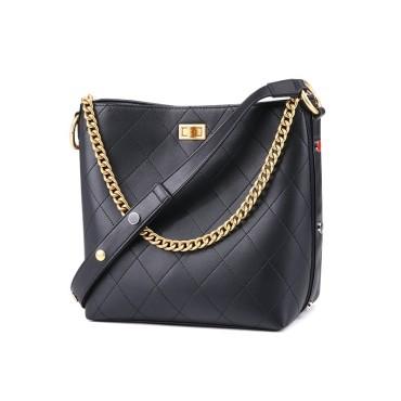 Eldora Genuine Cow Leather Bucket Bag Black 77218
