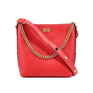 Eldora Genuine Cow Leather Bucket Bag Red 77218