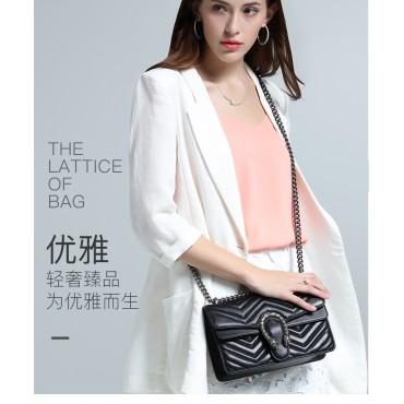 Eldora Genuine Cow Leather Shoulder Bag Black 77229