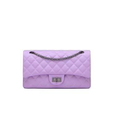 Eldora Genuine Cow Leather Shoulder Bag Purple 77230