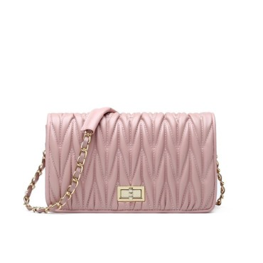 Eldora Genuine Lambskin Leather Shoulder Bag Pink 77233