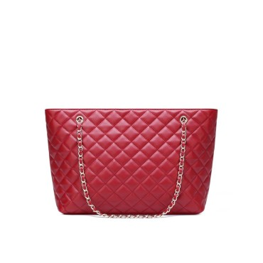 Eldora Genuine Cow Leather Tote Bag Dark Red 77240