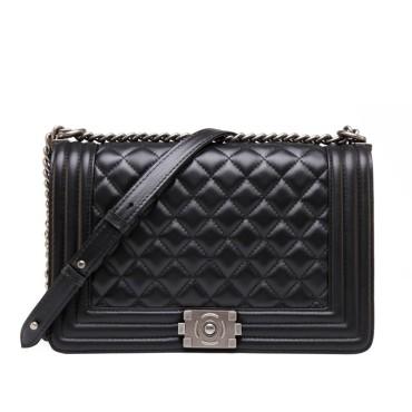 Eldora Genuine Lambskin Leather Shoulder Bag Black 77244