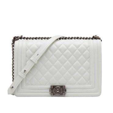 Eldora Genuine Lambskin Leather Shoulder Bag Whtie 77244