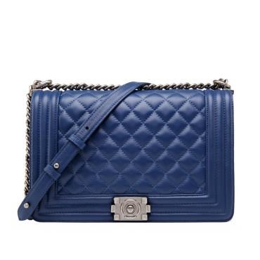 Eldora Genuine Lambskin Leather Shoulder Bag Dark Blue 77244