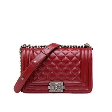 Eldora Genuine Lambskin Leather Shoulder Bag Dark Red 77244