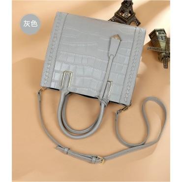 Eldora Genuine Cow Leather Top Handle Bag Grey 77245