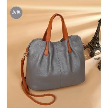 Eldora Genuine Cow Leather Shoulder Bag Grey 77246