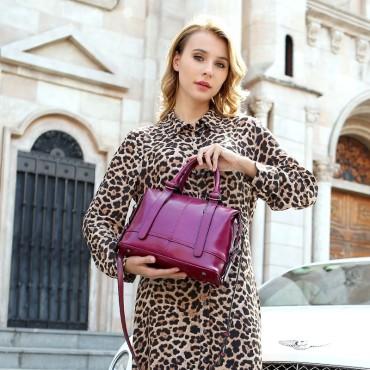 Eldora Genuine Cow Leather Shoulder Bag Purple 77247