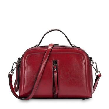 Eldora Genuine Cow Leather Shoulder Bag Purple 77248