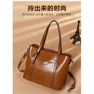 Eldora Genuine Cow Leather Tote Bag Brown 77251