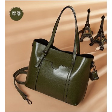 Eldora Genuine Cow Leather Tote Bag Green 77251
