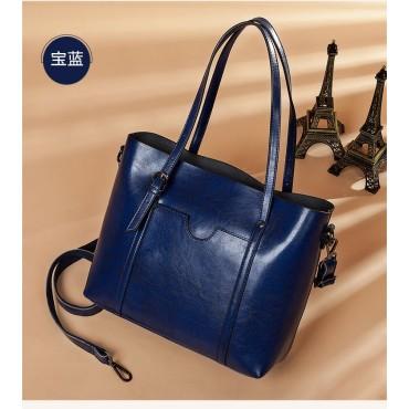 Eldora Genuine Cow Leather Tote Bag Blue 77251